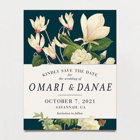 Magnolia Bouquet Save The Date Postcard