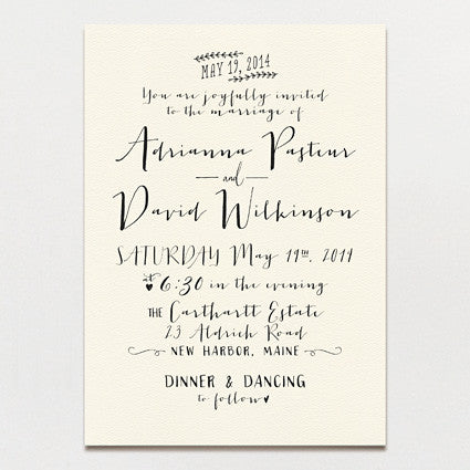 Modern Calligraphy Wedding Invitation Printable Press