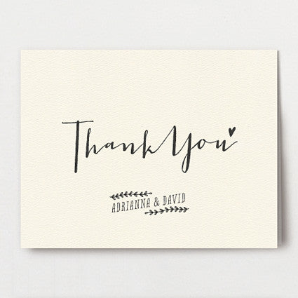 Modern Calligraphy Thank You Folded