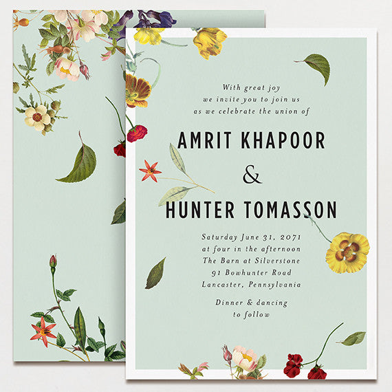 Blue Scatter Wedding Invitation