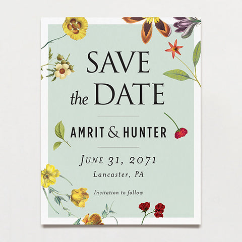 Blue Scatter Save The Date Postcard