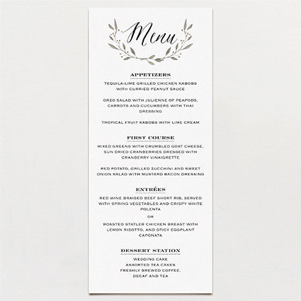 Simple Wreath Menu