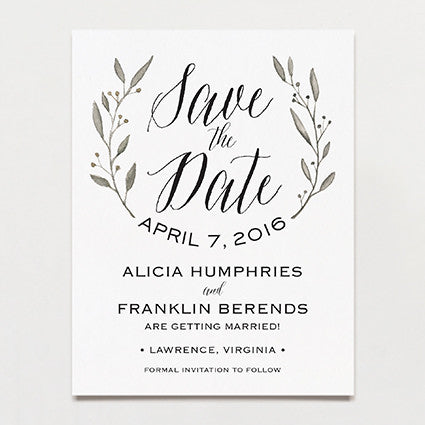Simple Wreath Save The Date Postcard