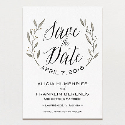 Simple Wreath Save The Date Printable Press