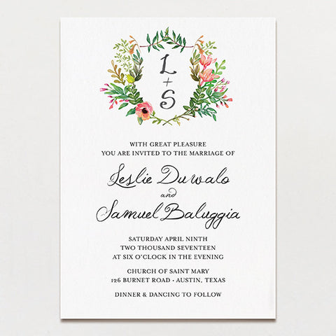 Wedding invitations printable press spring crest wedding invitation junglespirit Gallery