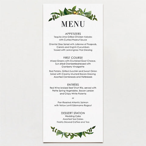 Tender Tendrils Menu