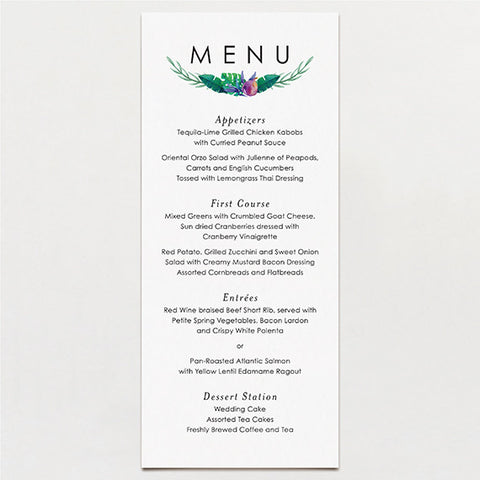 Tropical Watercolor Menu