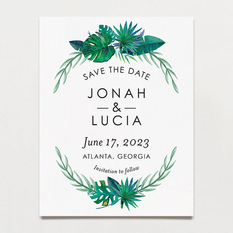 Tropical Watercolor Save The Date Postcard