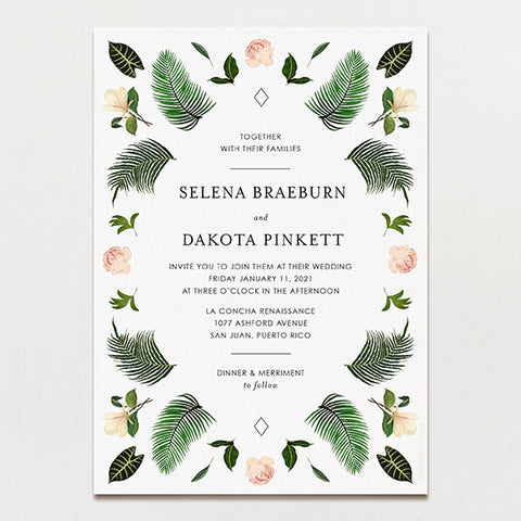 Wedding invitations printable press tropical symmetry wedding invitation stopboris