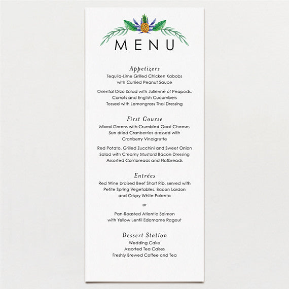 Truly Tropical Menu