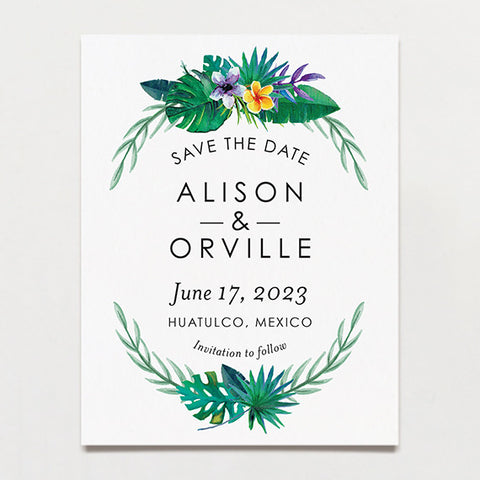 Truly Tropical Save The Date Postcard