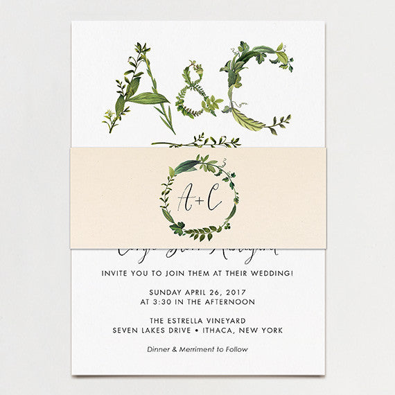 Twig Initials Wedding Invitation