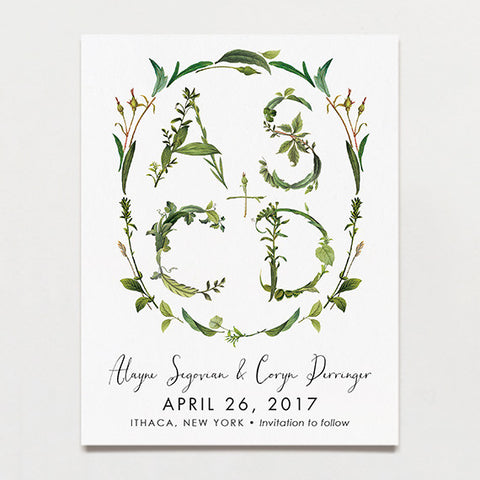 Twig Initials Save The Date Postcard