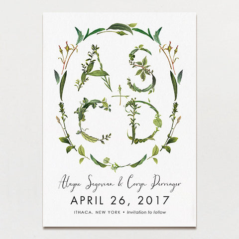 Twig Initials Save The Date