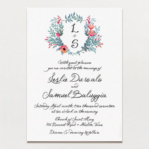 Watercolor Crest Wedding Invitation