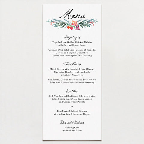 Watercolor Crest Menu