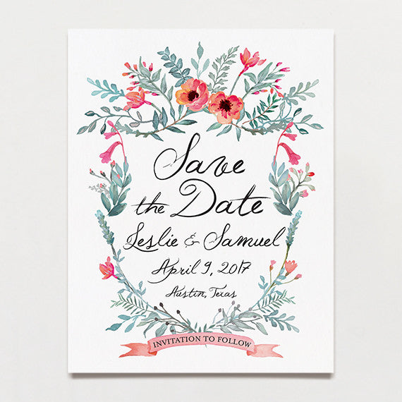 Watercolor Crest Save The Date Postcard