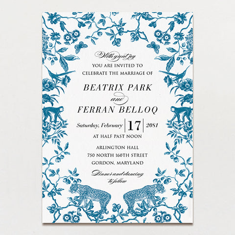 Wild Toile (Custom Animals) Wedding Invitation