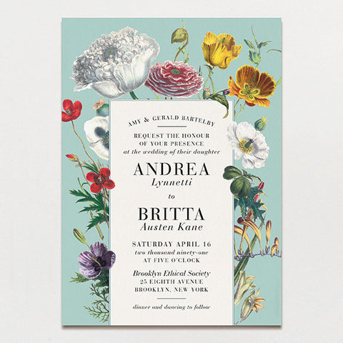 Wildflower Bouquet Wedding Invitation
