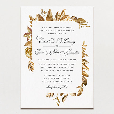 wreathed in gold classic wedding invitation