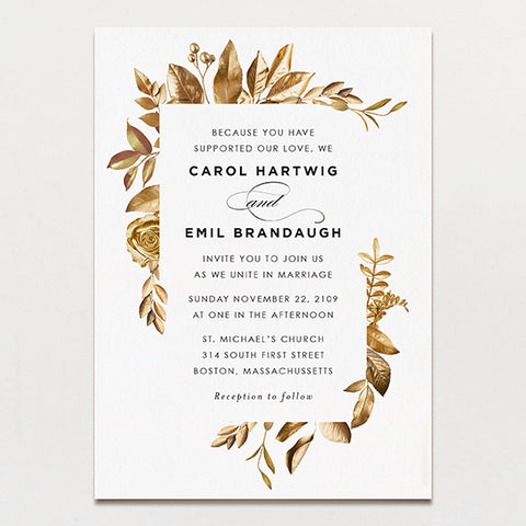 Wedding invitations printable press wreathed in gold modern wedding invitation junglespirit Gallery