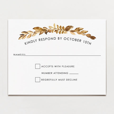 Wreathed In Gold Modern Response Card
