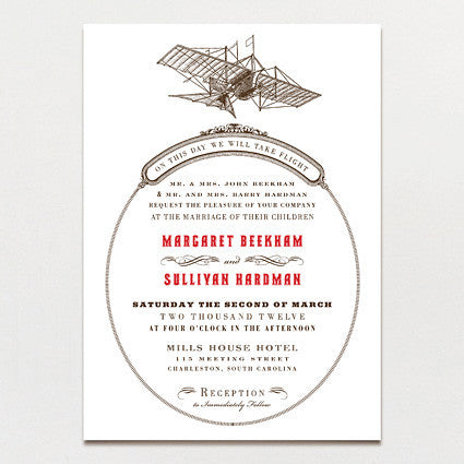 Aerial Steam Wedding Invitation
