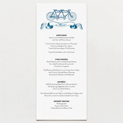 Bicycle Built For Two Menu