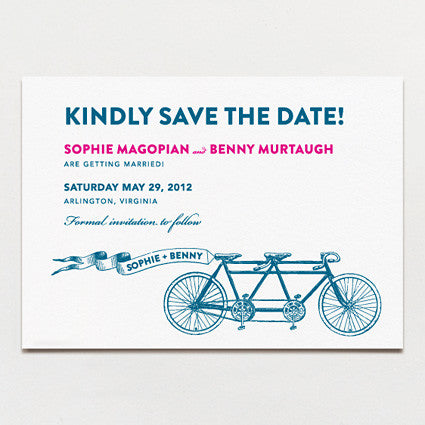 Bicycle Built For Two Save The Date