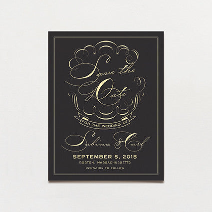 Black Label Save The Date Postcard