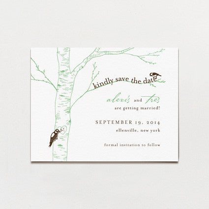 Carved Initials Save The Date Postcard