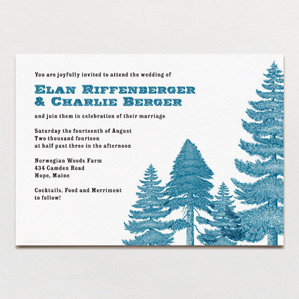 Deep In The Pines Wedding Invitation