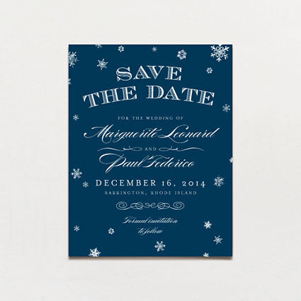 Elegant Snow Save The Date Postcard