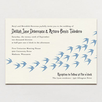 Flock of Swallows Wedding Invitation