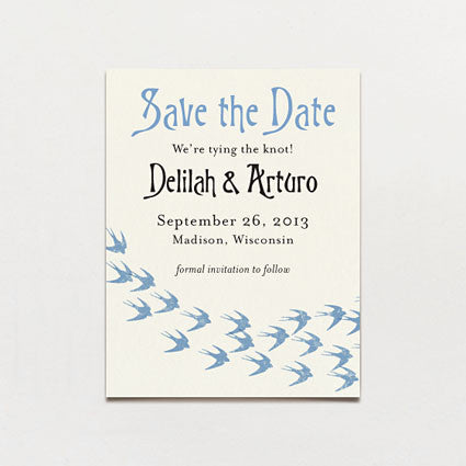 Flock of Swallows Save The Date Postcard