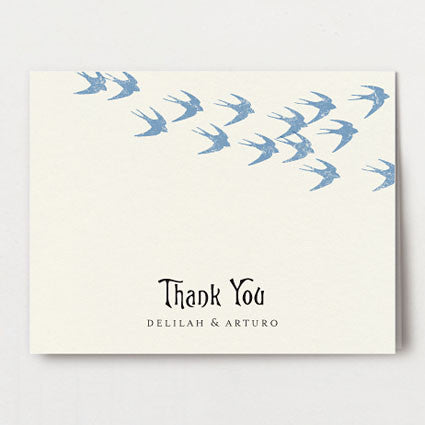 Flock of Swallows Thank You Folded