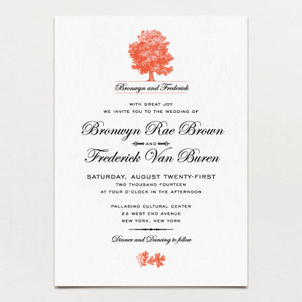 Under The Oak Tree Wedding Invitation