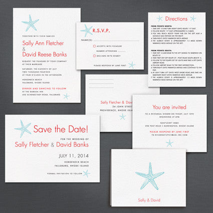 Sea Stars wedding invitation