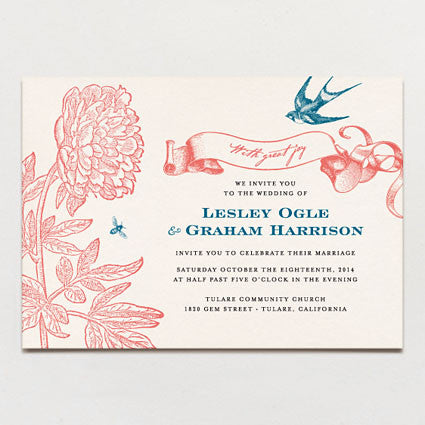 Swallow and Bee Wedding Invitation