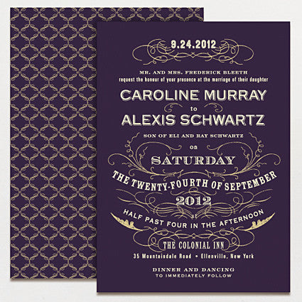 Vintage Glamour Wedding Invitation
