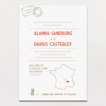 Vintage Destination Wedding Invitation