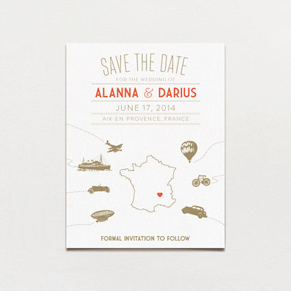Vintage Destination Save The Date Postcard