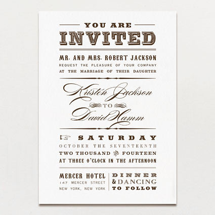 Western Cosmopolitan Wedding Invitation