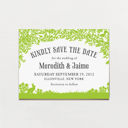 Woodland Love Save The Date Postcard