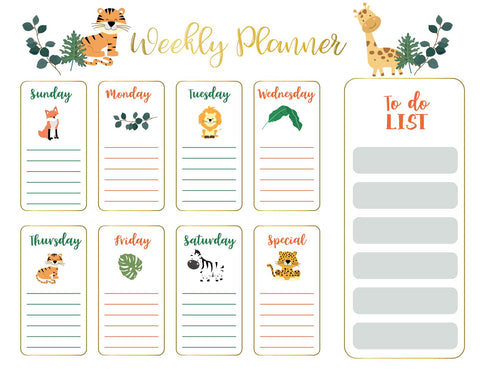 Jungle Friends | Weekly Planner