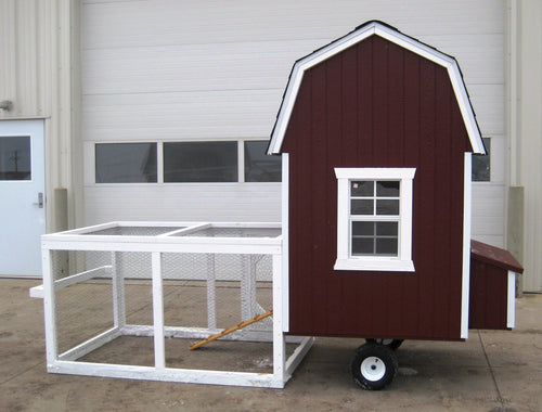 Gambrel Barn Chicken Coop with Wheels