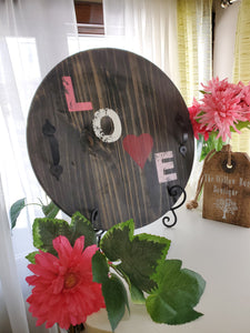 "Ebony Stained ""Love"" Serving Tray"