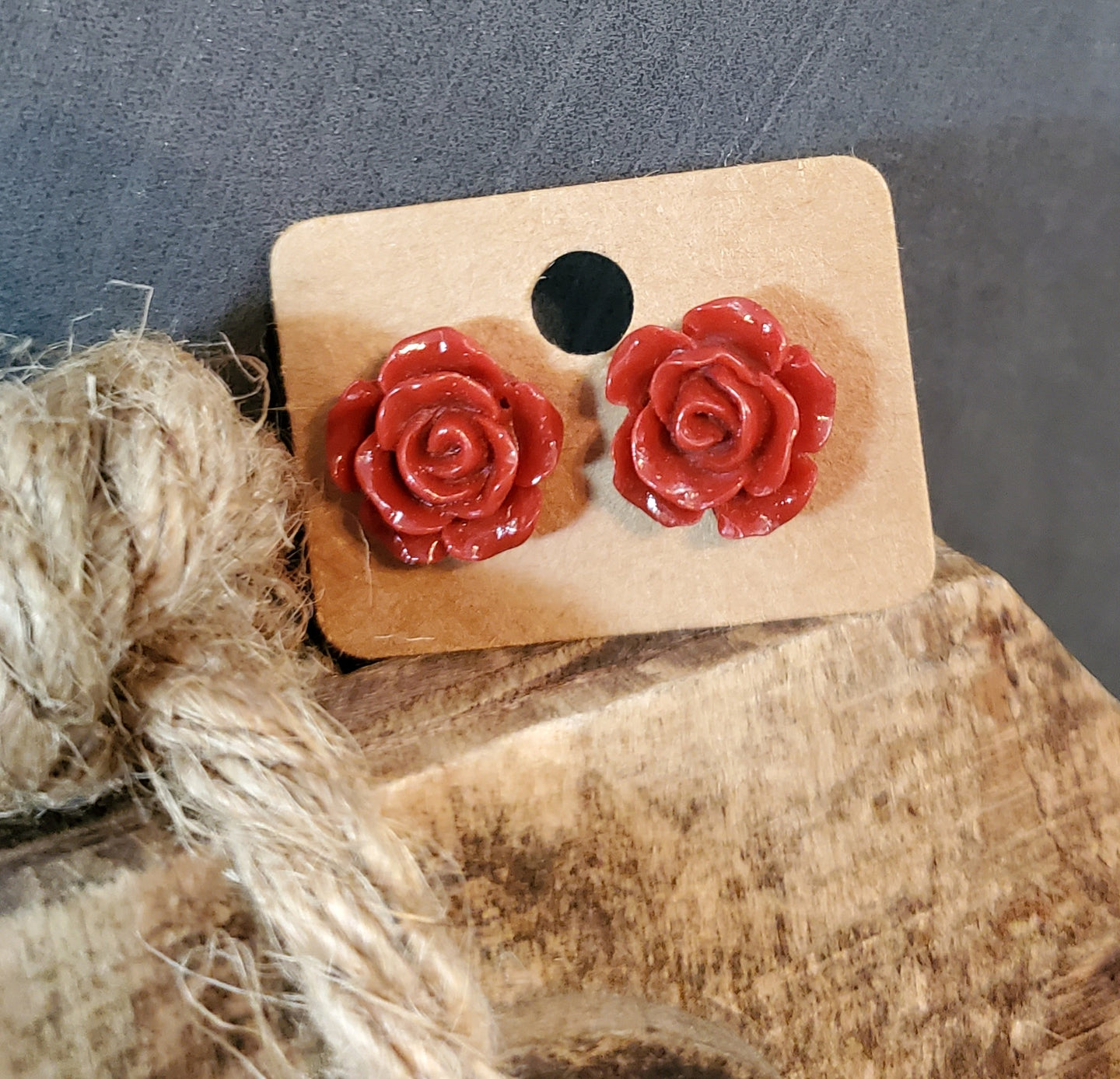 Red Rose Post Earrings