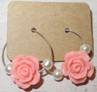 Shop Online Artificial Jewelry: Coral Rose Hoop Earrings