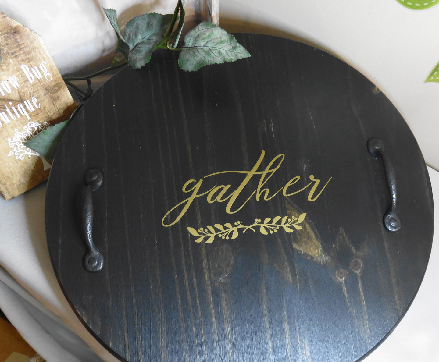 Round Serving Tray in Ebony Finish